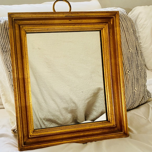Vintage Wall Art Gold Baroque Accent Mirror With Loop Hanging Hook Poshmark